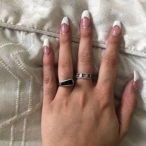 BaubleBar Black Enamel Silver Ring